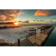 Avalon Ocean Baths Sunrise - Framed 1200x760mm